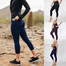 Women Sports Pants High Waist Yoga Fitness Leggings Gym Pocket Eighth Trouser CA
