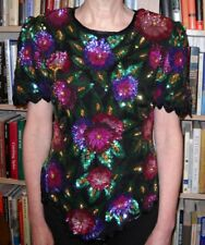 Vintage Laurence Kazar Sequined Top 100% Silk Shell - Ladies Size S (O131)