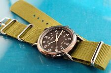 VINTAGE TIMEX MILITARY 60'S STYLE BLACK FACE 24 HOUR DIAL INDIGLO WATCH