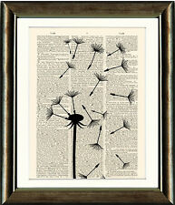 Old Antique Book page Art Print - Dandelion Seedhead 4- Dictionary Page Print