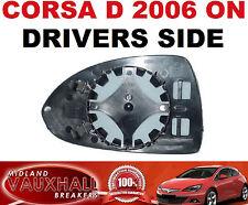 VAUXHALL CORSA D ELECTRIC HEATED WING MIRROR GLASS DRIVERS OFF SIDE SXI SRI CDTI