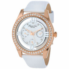Kenneth Cole KC2794 Multi-Function White Leather Crystal Rose Gold Women's Watch