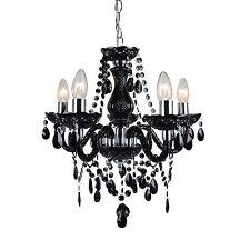 Modern Classic Black & Chrome Marie Therese 5 Light Ceiling Pendant Chandelier
