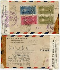 HAITI CENSORED 1943 POLICE GENERAL TAPE A LA CARAVELLE PRINTED AIRMAIL