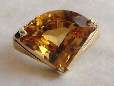 14K Honey Citrine Ring 7.5CT Trillion Fan Step Gallery 4gr 15x13mm  Sz 5