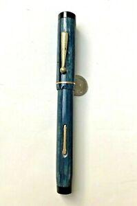 "Big, Bold and Blue ""HALVOPEN"" on Fountain Pen barrel - engraved cap - 14K 8 nib"
