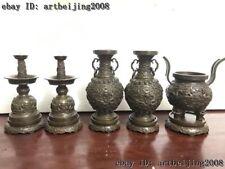 China Red Copper Dragon Candlestick Incense Burner Censer Vase Five Offering Set