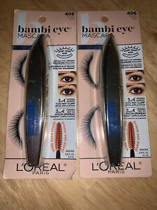 LOT OF 2 L'Oreal Bambi Eye Mascara, Waterproof, Black #406, NEW & SEALED