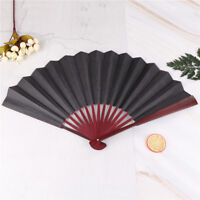 men's black spun silk calligraphy painting writing dancing folding hand fan HY