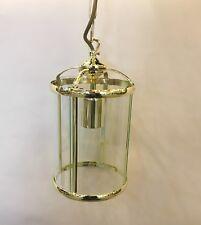 Vintage Hallway Lantern Polished brass 1 Light Ceiling Fitting Glass pendant