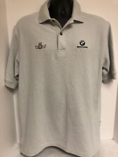 BMW VANSPORT Polo Golf Shirt Gray Mens Large Casual Embroidered BMW Logo Rugby