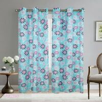 Boys Girls Kids Teens Blue/Pink/Purple Flakes 2 Panel Metal Grommets Curtain Set