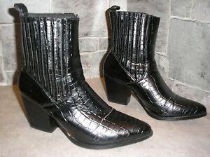 Cowboystiefel, Westernstiefel, Cowgirlstiefel, Stiefeletten, G. 39, black, Glanz