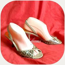 Sz 37.5 / 7 Womens Fendi Zucchino Sling Back Peep Toe Heels Sandals Shoes