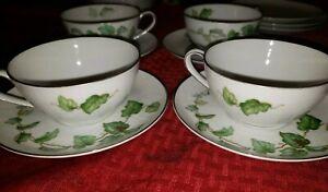 Towne Fine China Virginia Japan Lot 4 Teacup and Saucer Sets Green Leaf