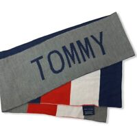 Tommy Hilfiger Mens Womens Red White Blue Gray Flag One Size Scarf NWT $55 70""