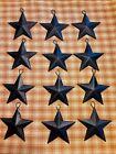 SET of 12   2 1 4  BLACK BARN STARS Metal Tin Primitive Rustic Country Ornaments
