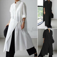 Womens Long Sleeve Collared Button Down Tunic Belt Shirt Dress Casual Loose Tops