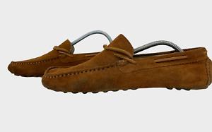 GENUINE Mens Shoes Size UK 6 EU 40 Brown Suede Mocassin Loafer Boat Deck Shoes