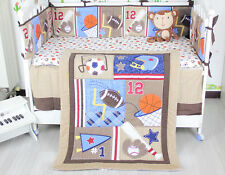 Sports Boy Baby Nursery Bedding Set 7PCS Infant Quilt Bumper Sheet Crib Skirt 02