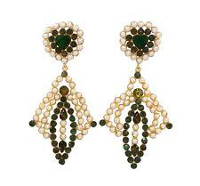 90x43mm 22k Gold Plated Green Onyx & Shell Pearl Earrings, Gemstone Earrings