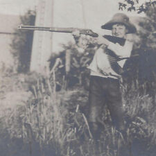 1900s CABINET PHOTO YOUNG BOY & WINCHESTER RIFLE & BULLET BANDOLIER