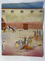 Original Painting Bull Ring Fighting Lima Peru Arturo Guzmay Folkart VTG 7487