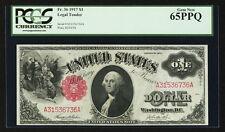 U.S.  1917  $1 LEGAL TENDER BANKNOTE, UNCIRCULATED, FR-36, CERTIFIED PCGS 65-PPQ