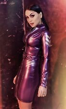 Misfitz pearlsheen purple latex military dress sizes 8-32/made to measure Goth
