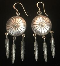 Sterling Silver Earrings Dangle Silver Feathers on Round Disk Wire Hooks 7.3 g