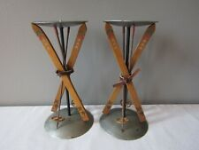 Midwest of Cannon Falls Wood Skis Silver Metal Candle Holders