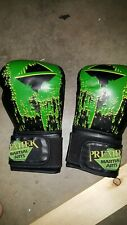 Premier Martial Arts 16 oz. Black Green Polyurethane Foam and Rubber Gloves mma