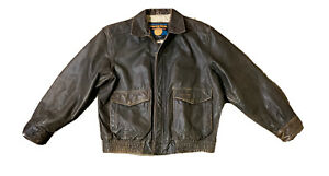 Vintage Adventure Bound by WILSONS Thinsulate Brown Leather Bomber Jacket Sz LT