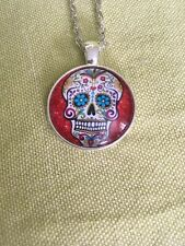 Red Sugar Flower skull Glass Chain Necklace Dia De Los Muertos Halloween
