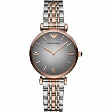 NEW Emporio Armani AR1725 Ladies Grey and Rose Gold Two Tone Gianni T-Bar Watch