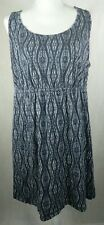 Sonoma Womens Dress Plus Size 1X Sleeveless Blue Geometric Print Slip On Blouson
