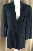 Moda Int'l Black Long Blazer Size 12 Suit Jacket 3 Button Notched Lapel No Vent