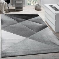 Geometric Rugs New Modern Grey Silver Pattern Mat for Living Room Lounge Carpet