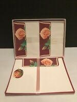 Vintage American Greetings Designer Collection Stationery, Peach Roses Floral