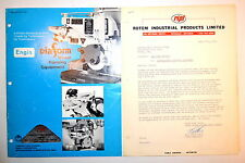 ENGIS DIAFORM WHEEL FORMING EQUIPMENT CATALOG 1977 #RR813 surface grinders