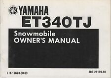 1985 YAMAHA ENTICER ET340TJ  SNOWMOBILE OWNERS MANUAL LIT-12628-00-63 (863)