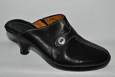 Cole Haan Sz 7 M Black Leather Platform Mules Heels Slip On Shoes
