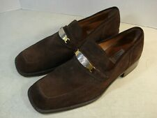 Vtg Gianni Versae Medusa Brn Sued Loafers Shoes Mens Sz 10 Italy