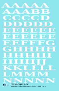 K4 G Decals White 7/16 Inch Penn Roman Letter Number Alphabet Set