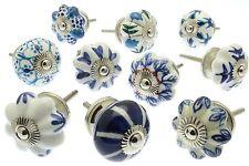 41 white & blue ceramic door knob cupboard knobs handle cabinet wardrobe puller