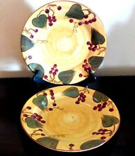 La Doce Vita Provence Collection Dinner Plates x2 Berries Leaves Brown Trim