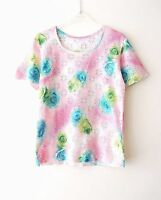 Ladies Pink Floral Lace Casual Short Sleeve Summer Holiday Top T shirt M 12 - 14