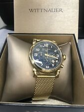 Wittnauer Men's Gold Mesh Chronograph Watch WN3071 Designed By Bulova 44 Mm