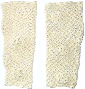 Magnolia Pearl Ivory Crocheted Cuffs Wristlet or Ankle Warmers Romantic Vintage