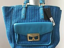 $298 NEW marc by marc jacobs hayley straw shoulder tote purse handbag blue